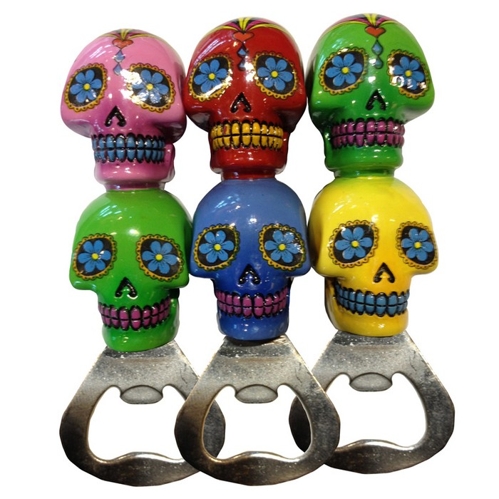 Double Day of the Dead Skull Bottle Opener
